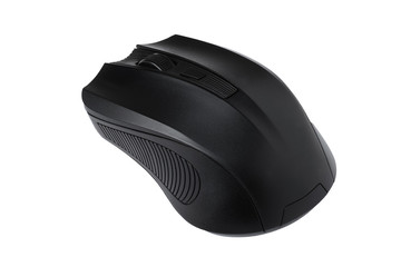 Сomputer mouse, black, on white background, isolated.