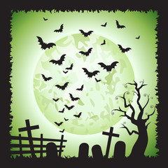 Halloween Square Green Bats Scene Background 1
