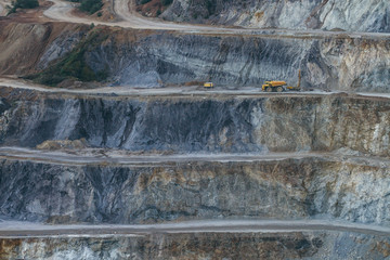 yellow heavy machinery in mining area