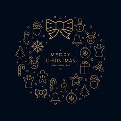 christmas golden icon wreath elements circle black background