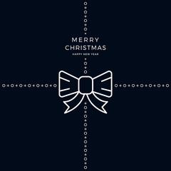 merry christmas ribbon bow white black background