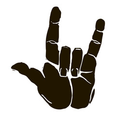 Black silhouette realistic rock n roll hand gesture icon graphic