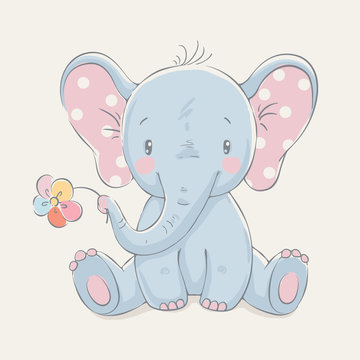 Cute elephant with a flower cartoon hand drawn vector illustration. Can be used for baby t-shirt print, fashion print design, kids wear, baby shower celebration greeting and invitation card.