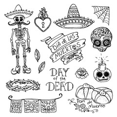 Dia de los Muertos or Day of the Dead hand sketched doodles