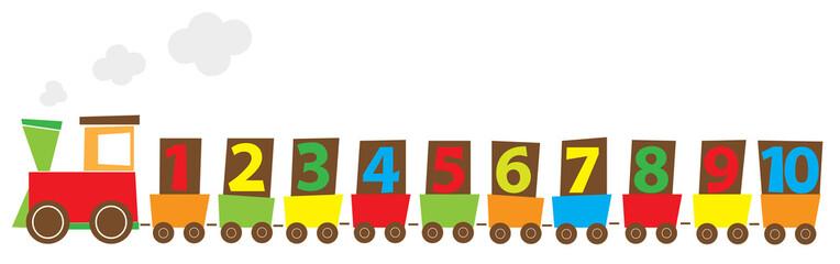 Pociąg z cyframi 1-10, ilustracja edukacyjna dla dzieci ,wektrory