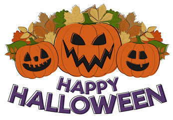 Happy Halloween - card with hand drawn pumpkins in retro style. Vector.