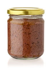 Glass jar of black olive paste
