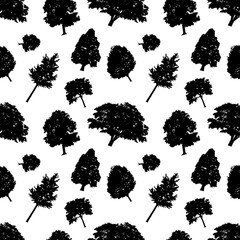 Seamless vector pattern black silhouettes style trees. Trees delicate branches, black and white background. Flat design Vector Illustration