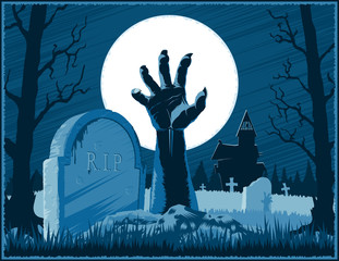 Hand of zombie corpse with claws raised up from grave with gravestone on a cemetery with abandoned hut on Halloween holiday on a night background with Moon. Vector hand drawing graphic illustration.
