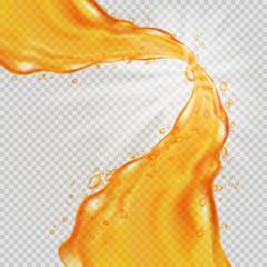 Honey background. Transparent orange liquid splash. Water, honey, oil, juice, beer, shampoo. Vector illustration.