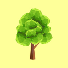 Conceptual polygonal geometric tree. Abstract vector Illustration, low poly style.