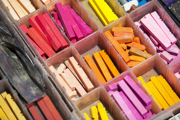 Colorful Dry Pastel Chalk in a Plastic Box