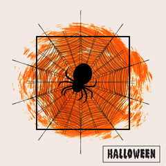 Spider on a cobweb over brush paint abstract background vector illustration. Halloween sign text. Halloween poster, invitation or banner.