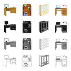 Furnishings, amenities, style and other web icon in cartoon style.Office, building, firm, icons in set collection.