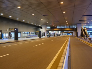 Bus stops at Narita Airport Terminal 2 early in the morning