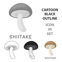 Fototapete - Shiitake icon in cartoon style isolated on white background. Mushroom symbol stock vector illustration.