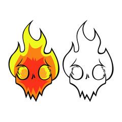 Flaming skull. Cartoon logo