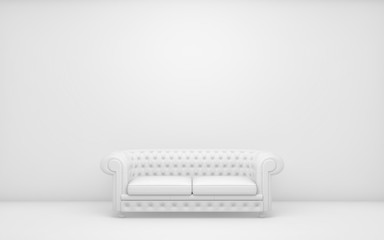 White light room with sofa and empty background wall. 3d render Fotomurales