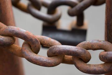closeup of a metal chains