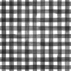 Gray gingham plaid seamless pattern
