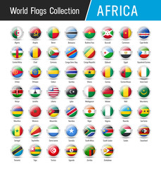Set of African flags - Vector round icons