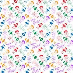 Back to School Kids hand drawn pattern background