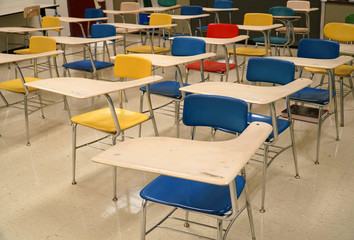 Close up on tables and chairs in the classroom