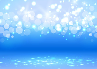 Abstract bokeh light blue background with white decoration elements. Vector illustration