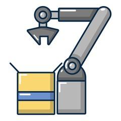 Robot factory icon, cartoon style