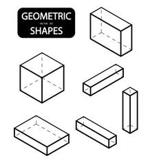 Set of 3D geometric shapes. Isometric views. The science of geometry and math. Linear objects isolated on white background. Outline. Vector illustration