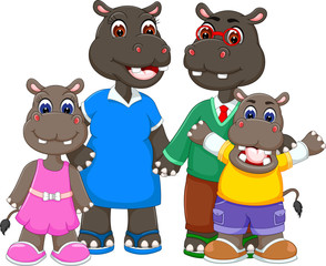 happy family of hippo cartoon