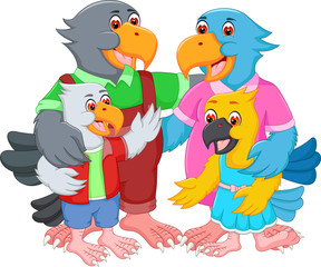 happy family of eagle cartoon