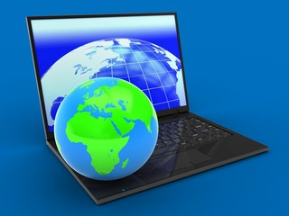 3d laptop computer and globe