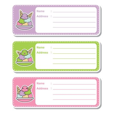 Vector cartoon illustration with cute ice creams on colorful background suitable for kid address label design, address tag and printable sticker set