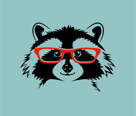 funny cute vector illustration of a raccoon wearing eyeglasses. For kids, t-shirt, poster, print design