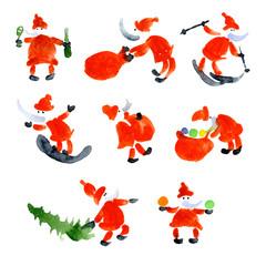 Merry, happy, family holiday new year. Winter, long-awaited, cozy Christmas. Santa Claus gives presents. Santa Claus brings sweets. Watercolor. Illustration