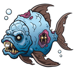 Vector illustration of Cartoon fish zombie