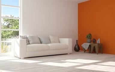 Idea of orange minimalist room with sofa. Scandinavian interior design. 3D illustration