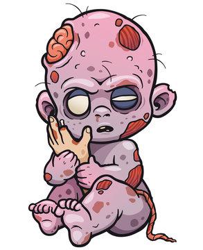 Vector illustration of Cartoon Baby zombie