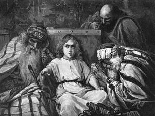 The conversation of the young Christ with the wise men.