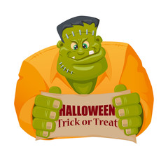 Frankenstein monster character in cartoon style
