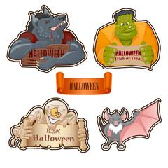 Set of characters for Halloween: Werewolf, Frankenstein monster, mummy, bat.