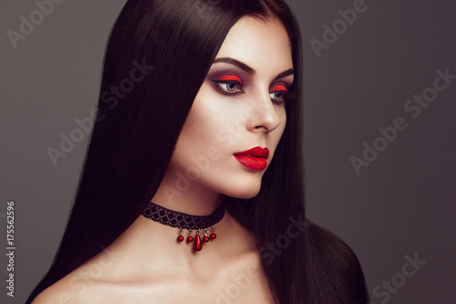 halloween vampire woman portrait beautiful glamour. Black Bedroom Furniture Sets. Home Design Ideas