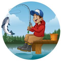 cartoon boy enjoying fishing in the lake