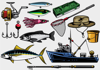 fishing equipment in set