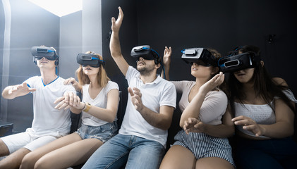portrait of young people  using vr glasses