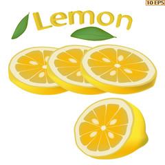 Lemon isolated on white background. Yellow fruit lemon close-up. Sliced lemon. Food product design. Vector illustration for a recipe, restaurant menu, kitchen interior design.