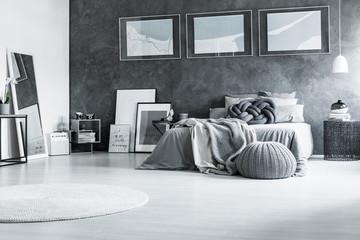 Restful black and white bedroom