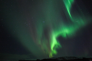 The Northern Lights (Aurora borealis) over Jokulsarlon in Iceland