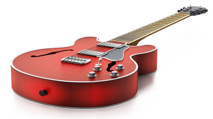 Electric guitar with flaming red wooden finish. 3D illustration